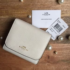 Coach Small Chalk White Leather Wallet